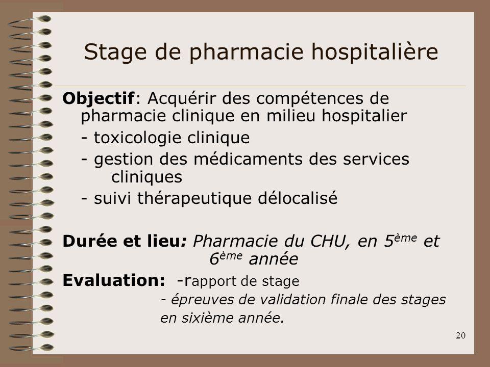 Stage de pharmacie hospitalière