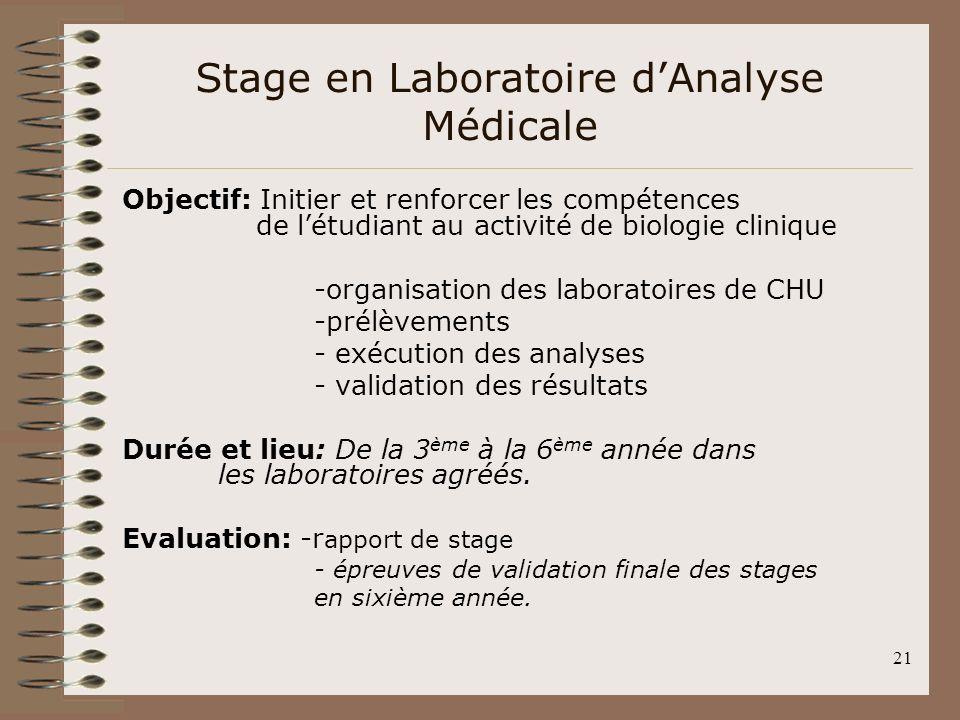Stage en Laboratoire d'Analyse Médicale