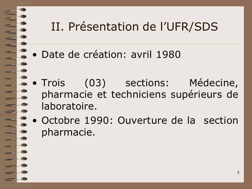 II. Présentation de l'UFR/SDS