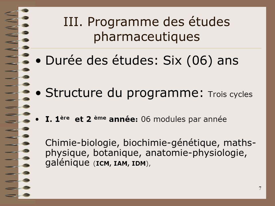 III. Programme des études pharmaceutiques