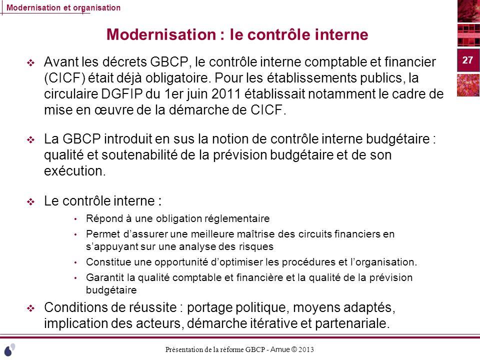 Modernisation : le contrôle interne