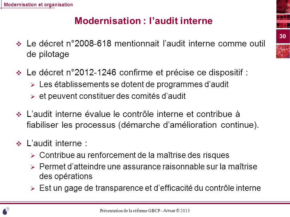 Modernisation : l'audit interne