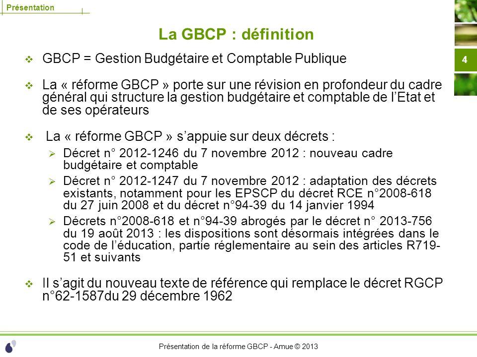 La GBCP : définition GBCP = Gestion Budgétaire et Comptable Publique