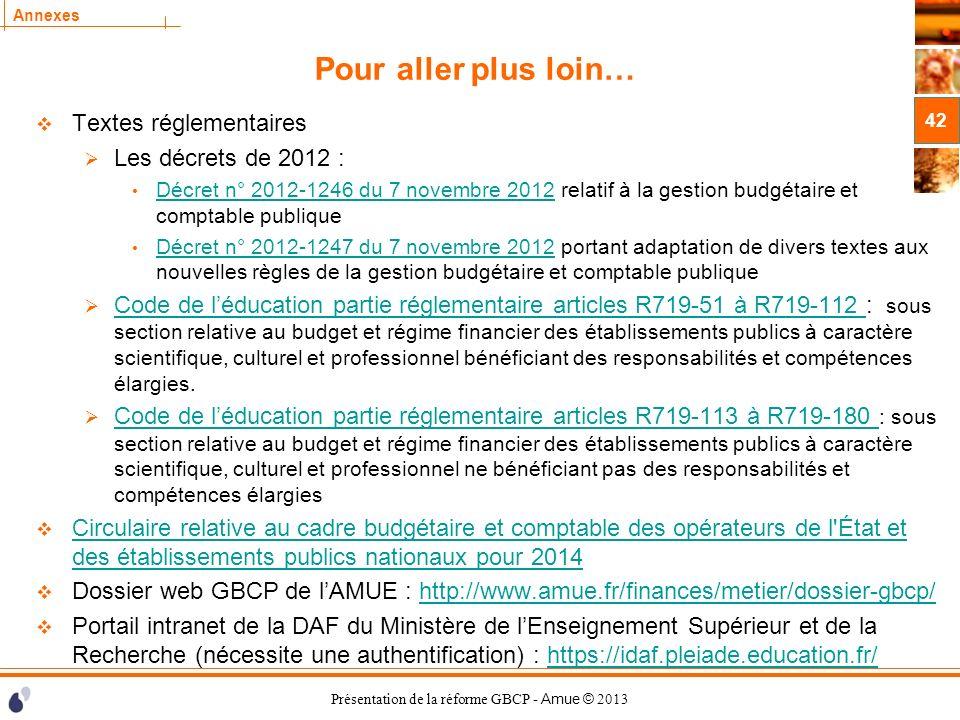 Pour aller plus loin… Textes réglementaires Les décrets de 2012 :