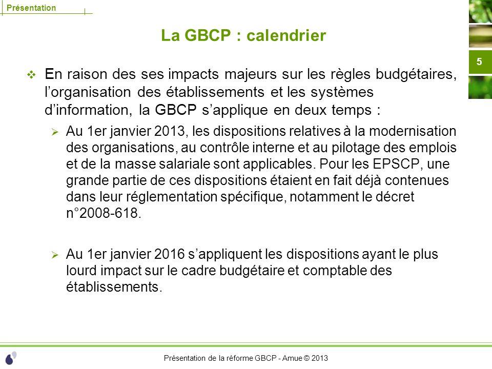 La GBCP : calendrier
