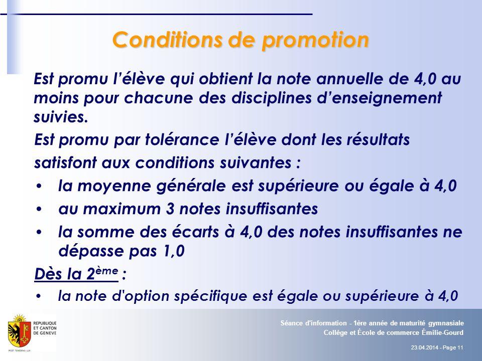 Conditions de promotion