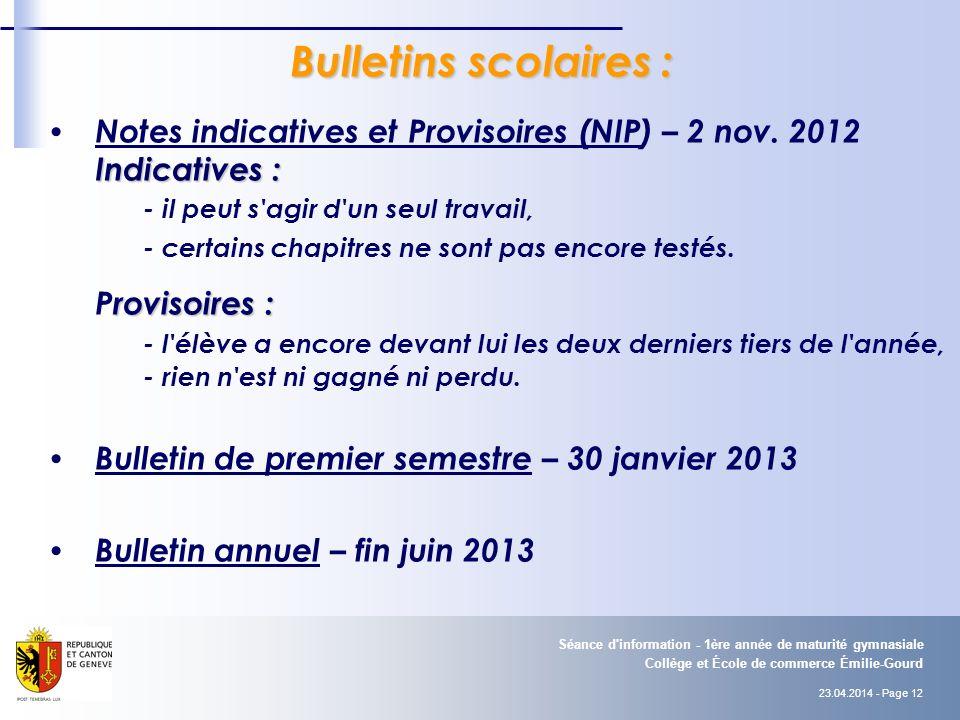 Bulletins scolaires : Notes indicatives et Provisoires (NIP) – 2 nov. 2012. Indicatives : - il peut s agir d un seul travail,