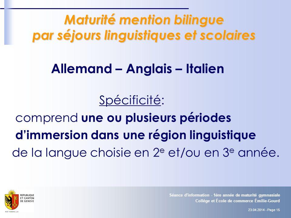 Maturité mention bilingue par séjours linguistiques et scolaires