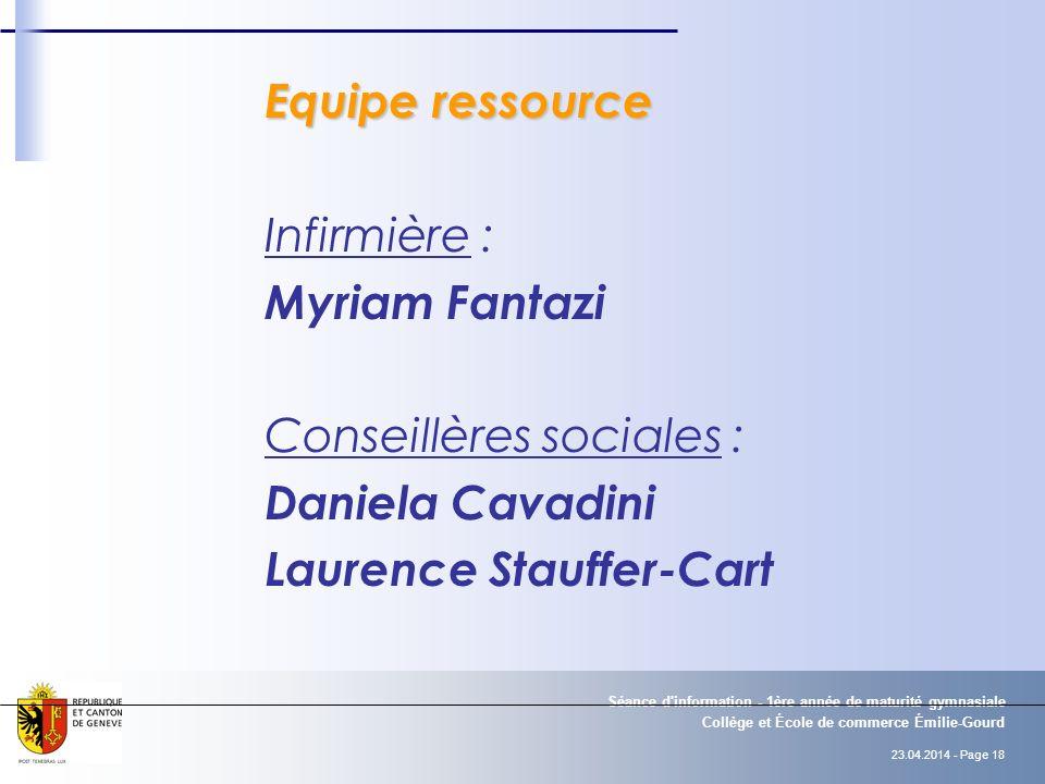 Conseillères sociales : Daniela Cavadini Laurence Stauffer-Cart