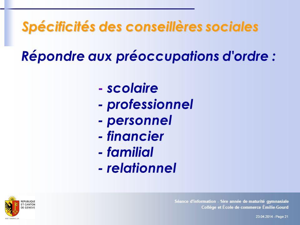 Spécificités des conseillères sociales