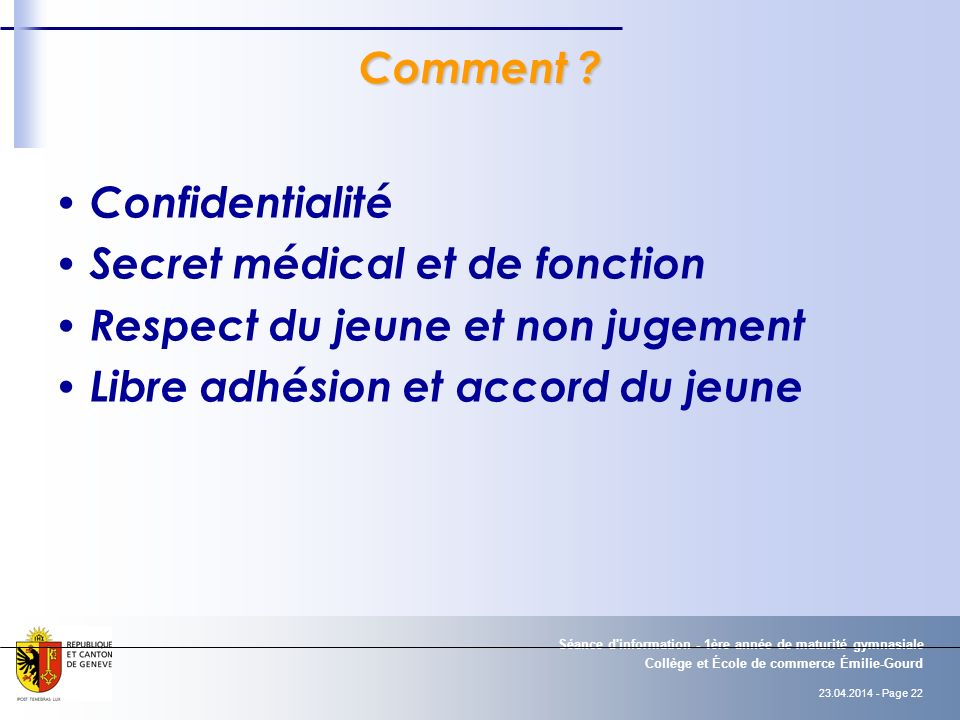 Secret médical et de fonction Respect du jeune et non jugement