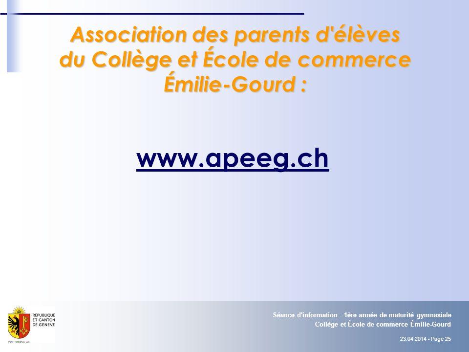 Association des parents d élèves du Collège et École de commerce Émilie-Gourd :
