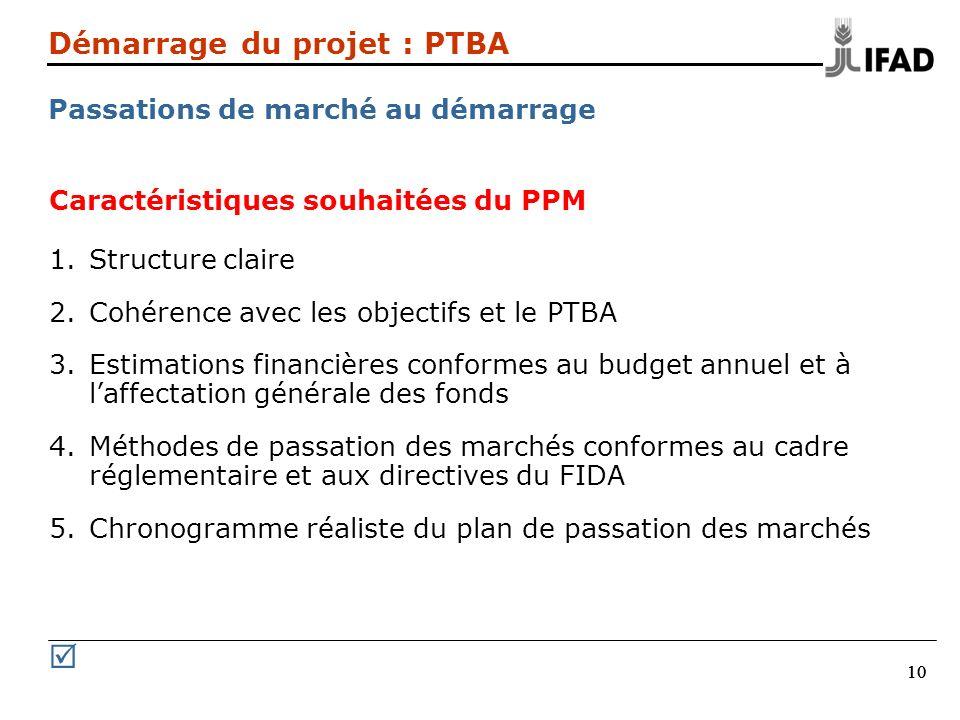 Démarrage du projet : PTBA Passations de marché au démarrage