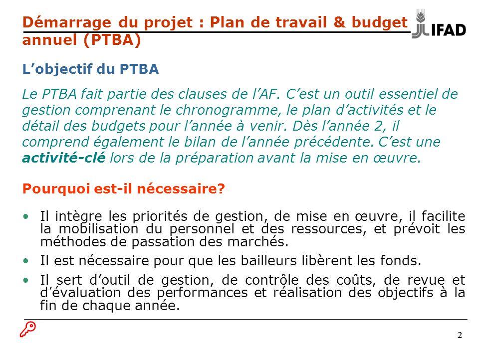 Démarrage du projet : Plan de travail & budget annuel (PTBA) L'objectif du PTBA