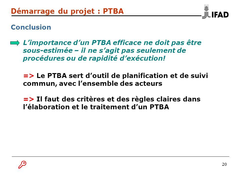 B Démarrage du projet : PTBA Conclusion