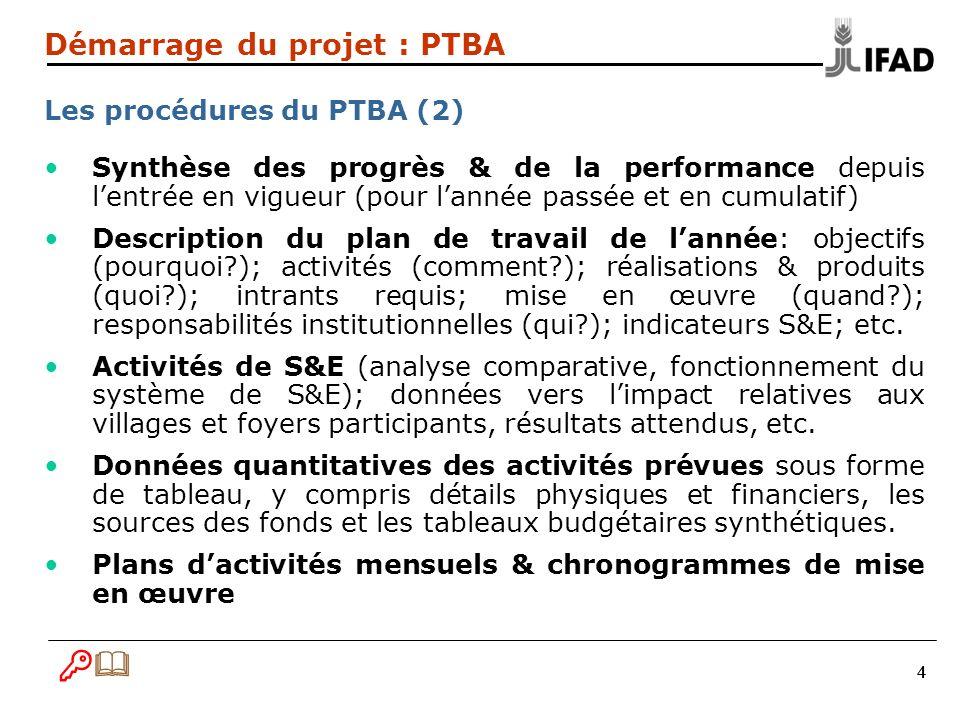 B& Démarrage du projet : PTBA Les procédures du PTBA (2)