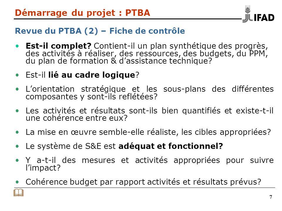 Démarrage du projet : PTBA Revue du PTBA (2) – Fiche de contrôle