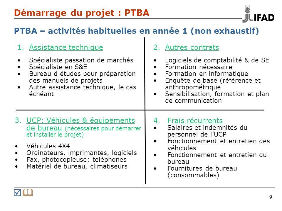 Démarrage du projet : PTBA PTBA – activités habituelles en année 1 (non exhaustif)
