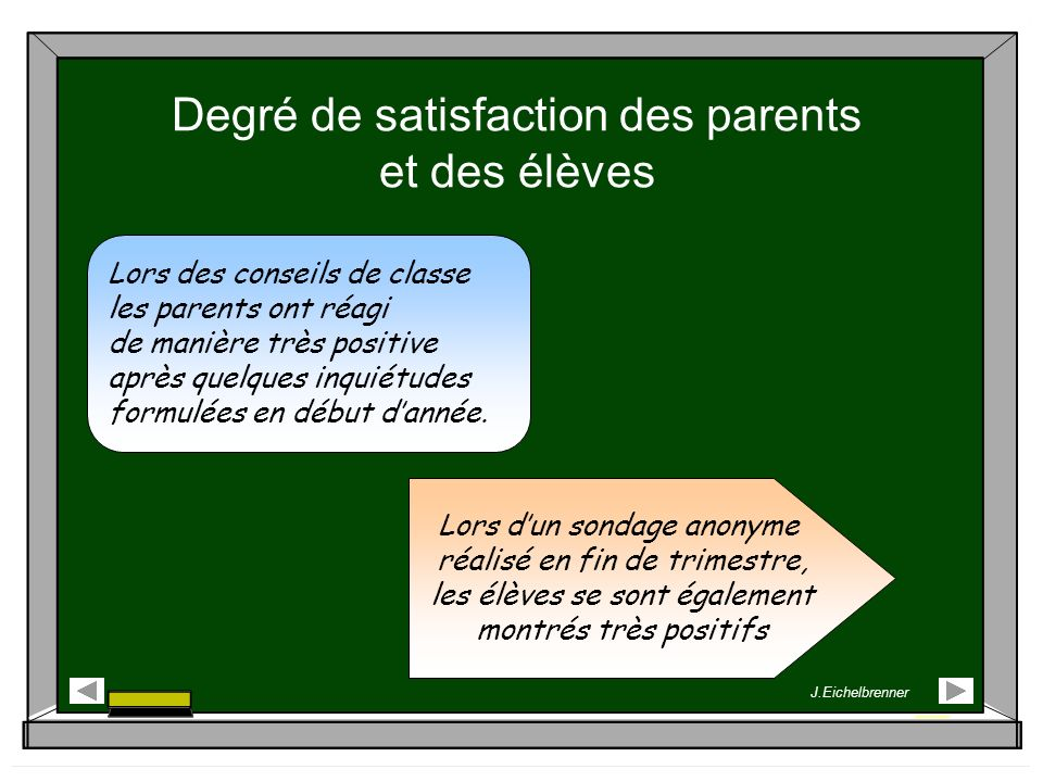Degré de satisfaction des parents et des élèves