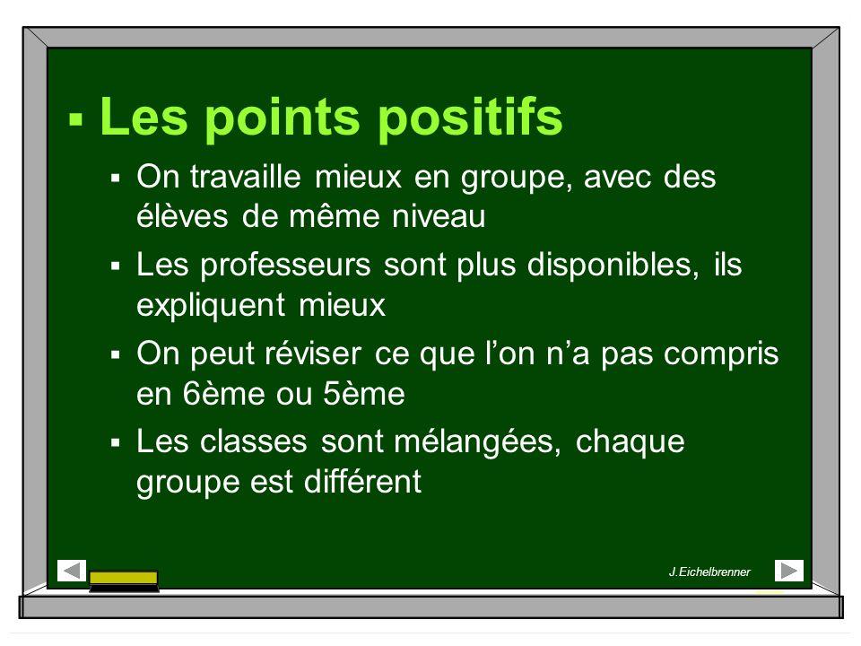 Les points positifs On travaille mieux en groupe, avec des élèves de même niveau. Les professeurs sont plus disponibles, ils expliquent mieux.