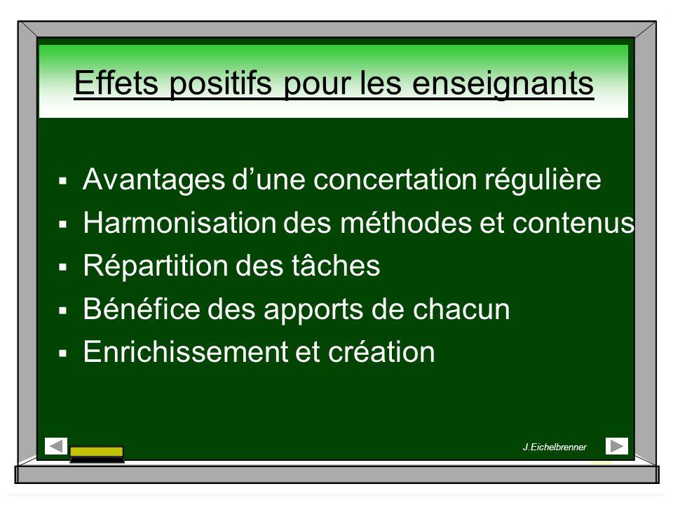 Effets positifs pour les enseignants