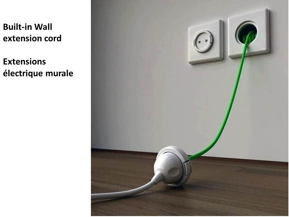 Built-in Wall extension cord