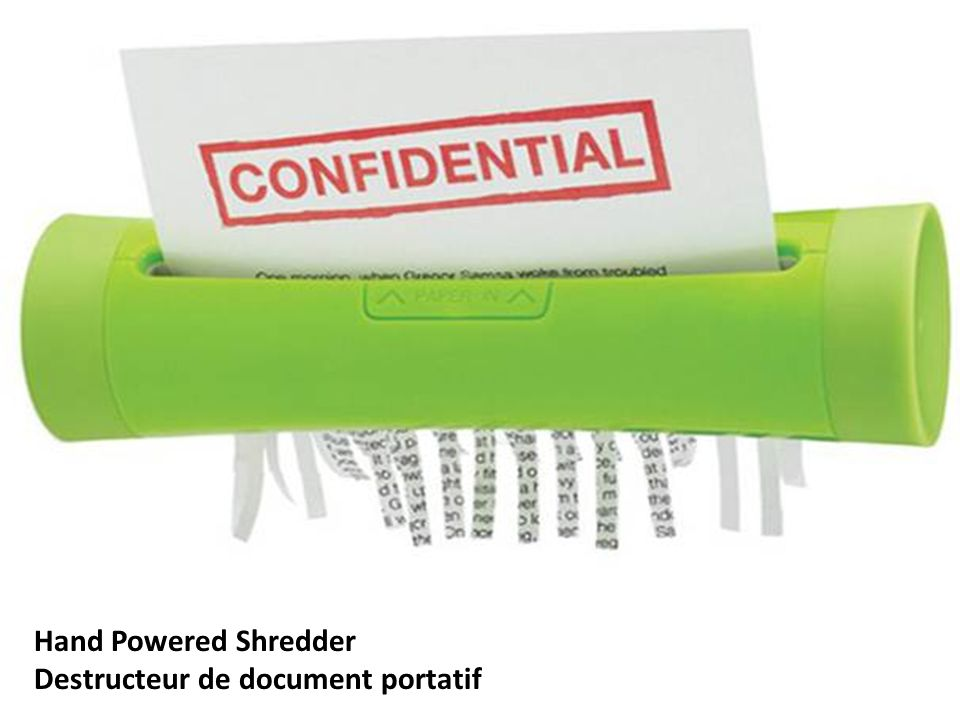 Hand Powered Shredder Destructeur de document portatif