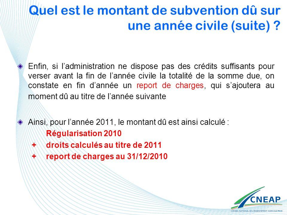 Quel est le montant de subvention dû sur une année civile (suite)