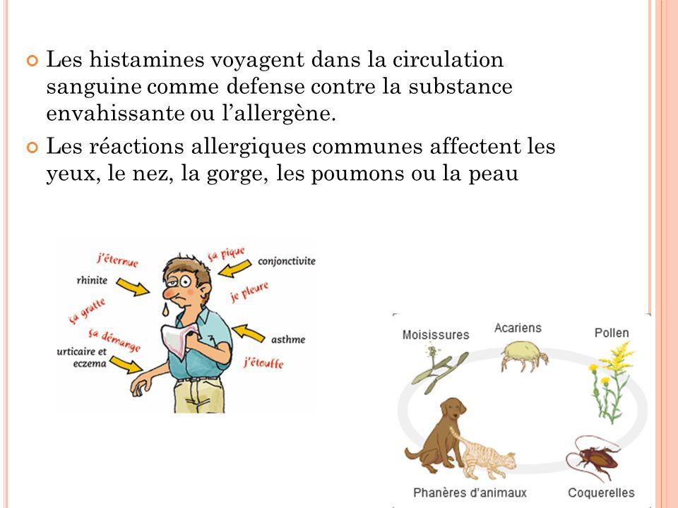 Les histamines voyagent dans la circulation sanguine comme defense contre la substance envahissante ou l'allergène.