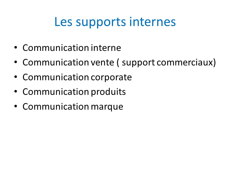 Les supports internes Communication interne