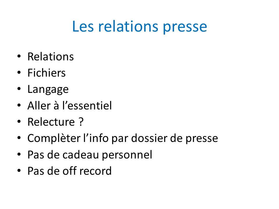 Les relations presse Relations Fichiers Langage Aller à l'essentiel