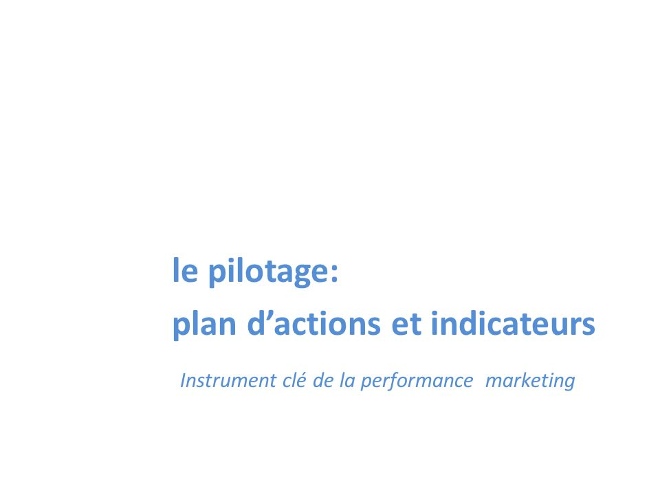 le pilotage: plan d'actions et indicateurs Instrument clé de la performance marketing