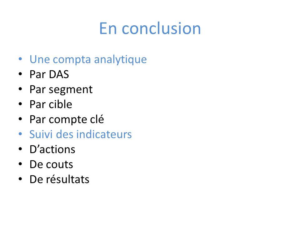 En conclusion Une compta analytique Par DAS Par segment Par cible