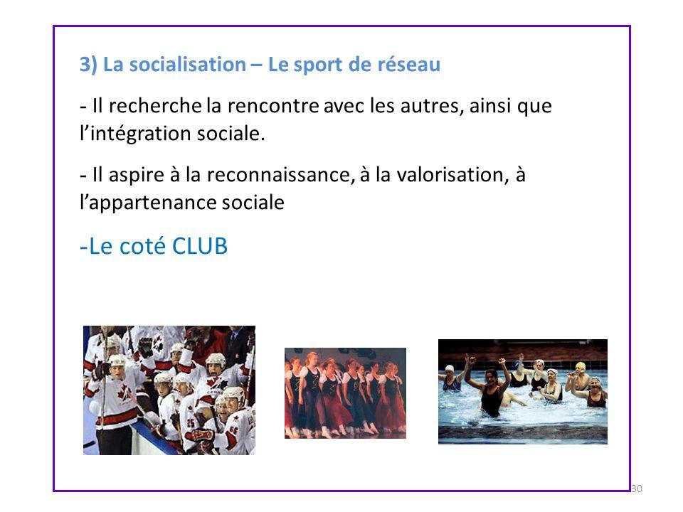 Le coté CLUB 3) La socialisation – Le sport de réseau