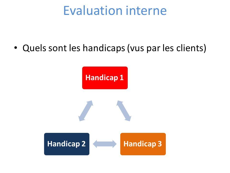 Evaluation interne Quels sont les handicaps (vus par les clients)