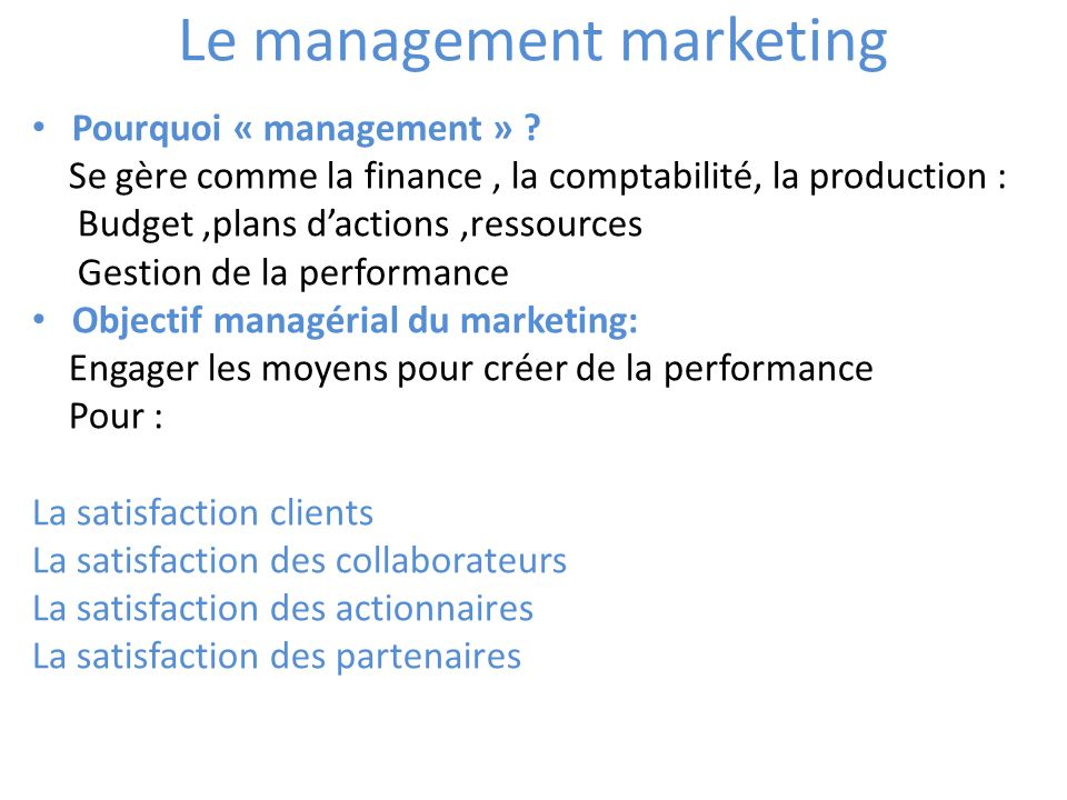 Le management marketing