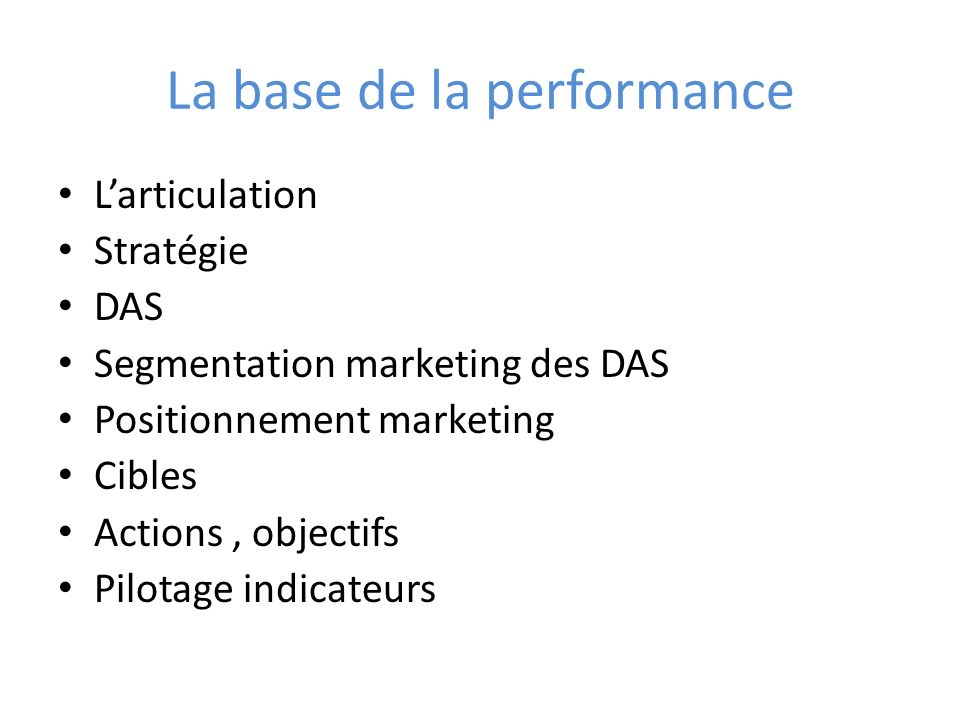 La base de la performance