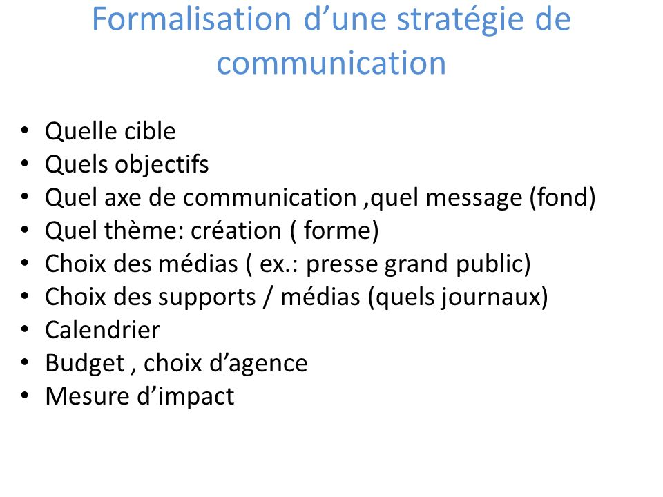 Formalisation d'une stratégie de communication