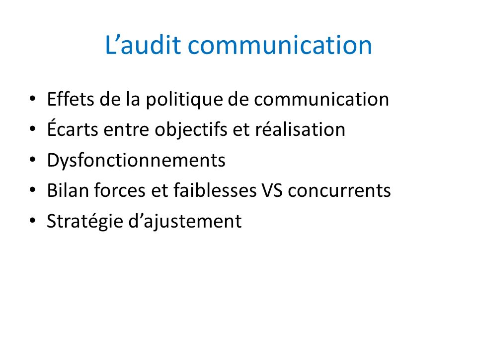 L'audit communication