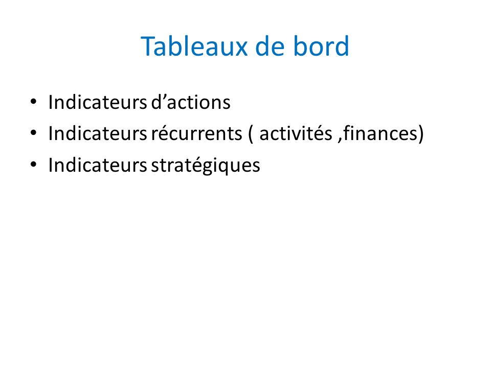 Tableaux de bord Indicateurs d'actions