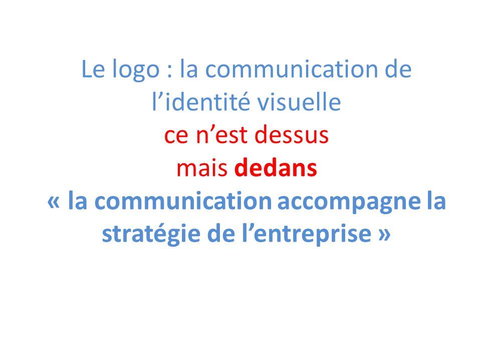 Le logo : la communication de l'identité visuelle ce n'est dessus mais dedans « la communication accompagne la stratégie de l'entreprise »