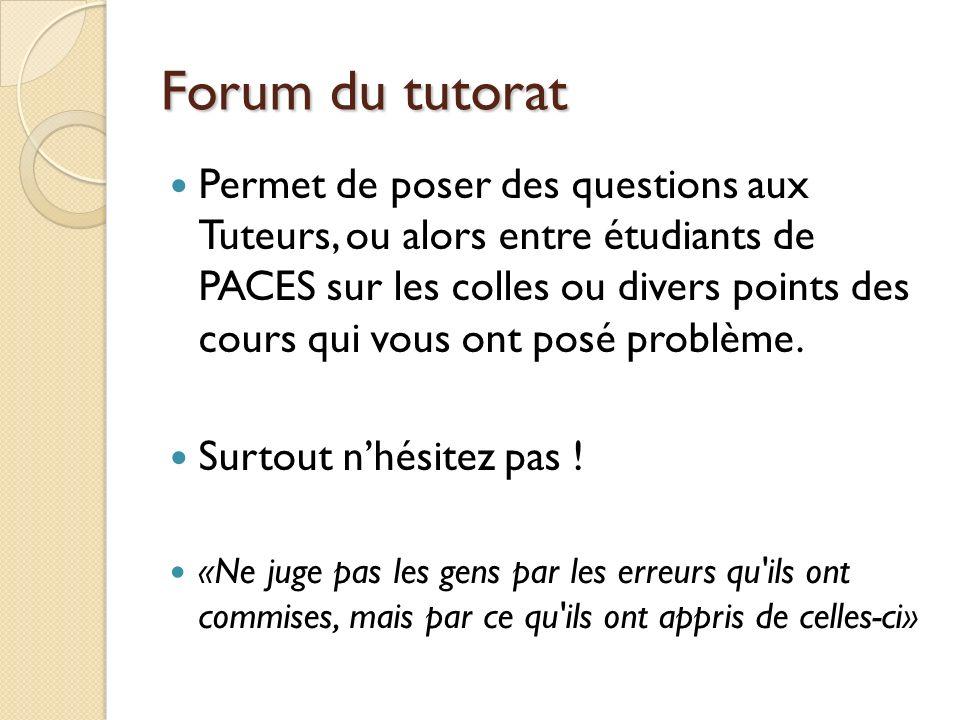Forum du tutorat