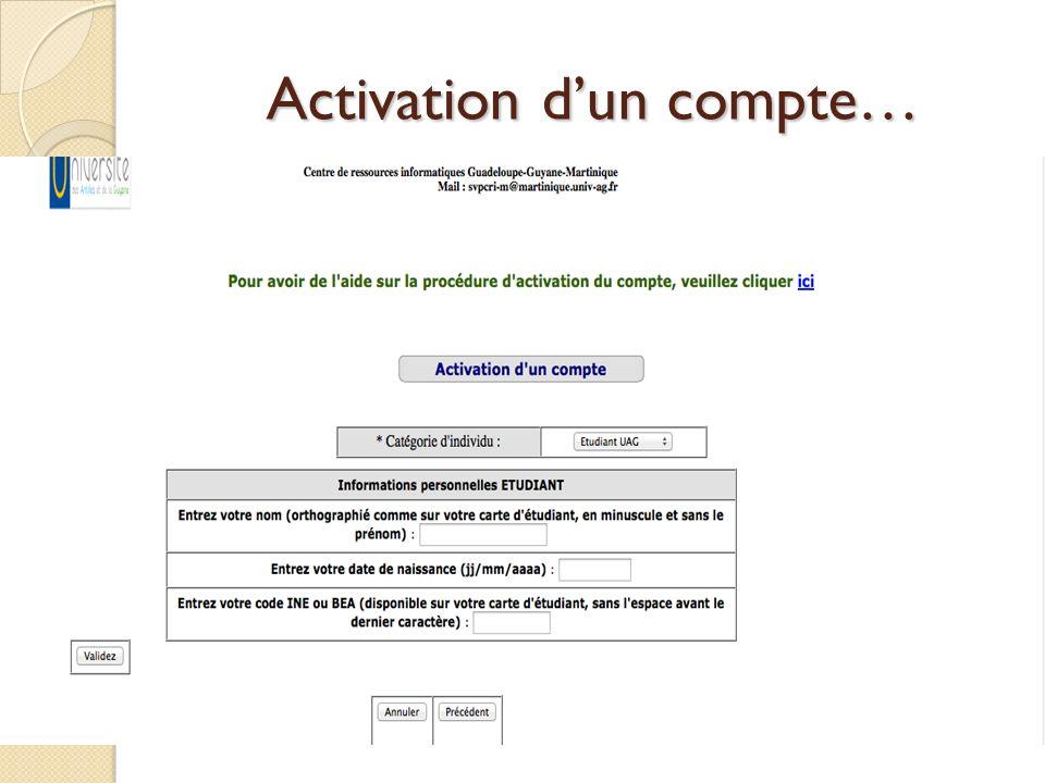 Activation d'un compte…