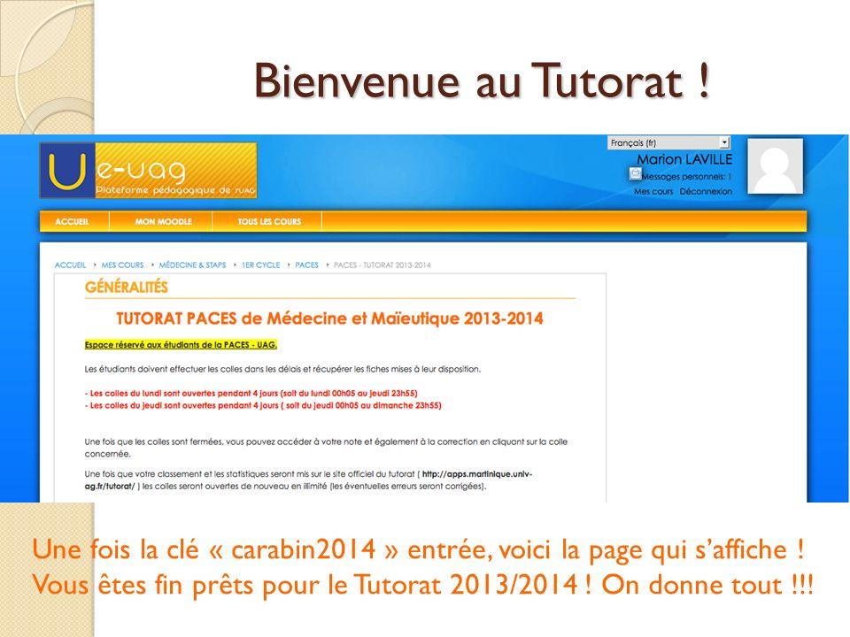 Bienvenue au Tutorat ! Une fois la clé « carabin2014 » entrée, voici la page qui s'affiche !