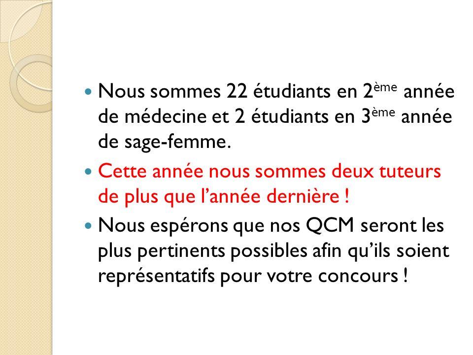 Nous sommes 22 étudiants en 2ème année de médecine et 2 étudiants en 3ème année de sage-femme.
