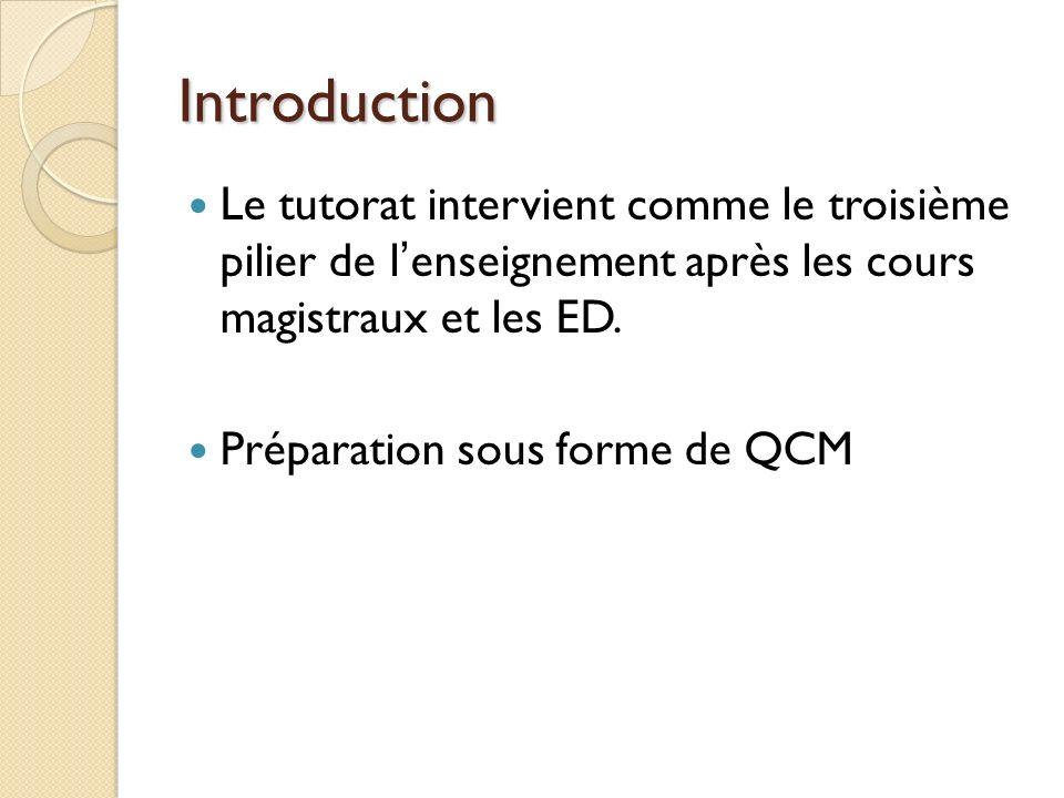 Introduction Le tutorat intervient comme le troisième pilier de l'enseignement après les cours magistraux et les ED.