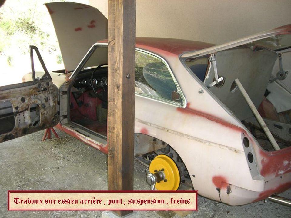 Travaux sur essieu arrière , pont , suspension , freins.