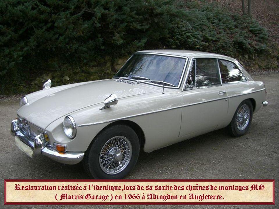 Restauration réalisée à l'identique,lors de sa sortie des chaînes de montages MG ( Morris Garage ) en 1966 à Abingdon en Angleterre.