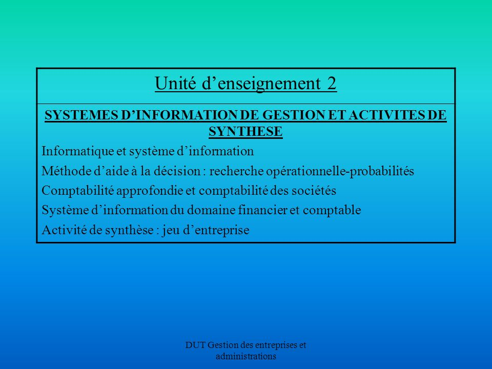 SYSTEMES D'INFORMATION DE GESTION ET ACTIVITES DE SYNTHESE