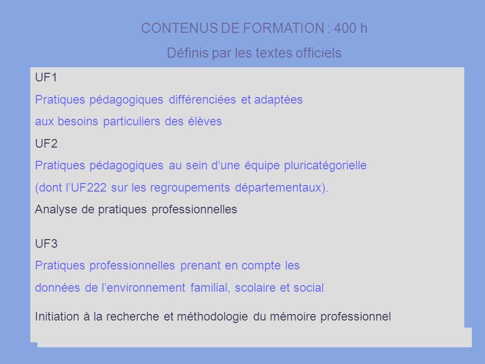 CONTENUS DE FORMATION : 400 h Définis par les textes officiels